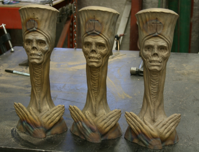 """The Dead Pope"" hot out of the pot, before patina."